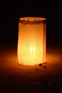 Light on the beach at night